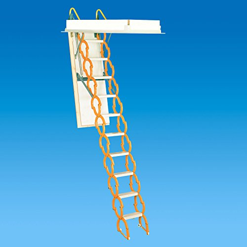 Rainbow M2254H 22-1/2''L x 54''W Prestige Telescoping Attic Ladder / Stair: 9'10''H - 11'6''H - ORANGE by Rainbow