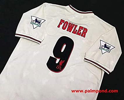 582567dac2a Retro Fowler 9 Liverpool Away Soccer Jersey 1997 Full Premier Patch (Grey