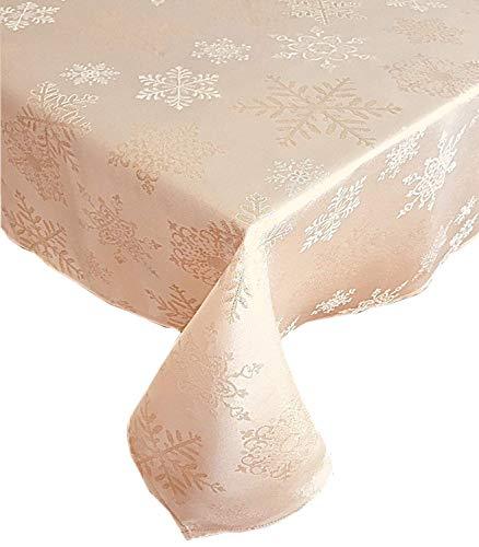 - Newbridge Metallic Snowflake Christmas No-Iron Soil Resistant Fabric Holiday Tablecloth, Ivory/Gold (60