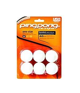 Ping Pong 1 Star Tischtennisbälle, Weiß, 6 Stück