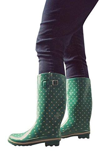 Jileon Breed Kalf All Weather Duurzame Rubberen Regenlaarzen Voor Dames-zachte & Donzige Voering Aan De Binnenzijde-past Op Kalfmaten Tot 18 Centimeter Groen Met Crèmessport