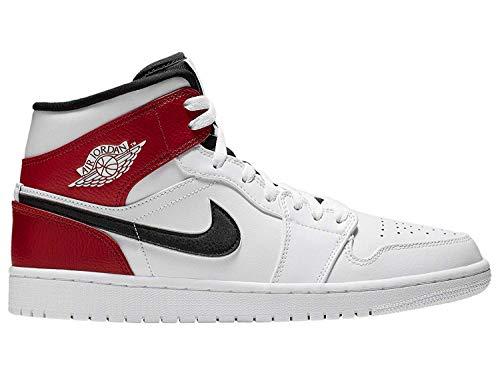 Nike Men's Jordan AJ 1 Mid White/Black/Gym Red Leather Casual Shoes 10 M US (Jordan Shoe Nike Air Box)