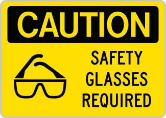 OSHA Danger Safety Glasses Required Area BilingualHeavy Duty Sign or Label