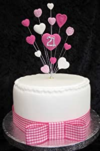 Cake Images Dow : 21st Birthday Cake Topper Pinks And White Hearts Suitable ...