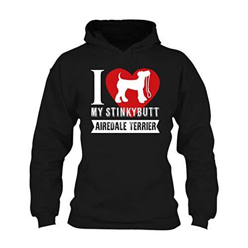 Seewhite Stinky Bull Airedale Terrier Hoodie, Unisex Pullover Hoodie Design Black,S Airedale Terrier Mens Hoodie