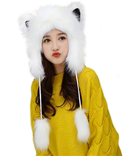 Cute Warm Plush Fluffy Faux Fur Hood Hat Spirit Ears Wolf Bear Cat Costume Hat Christmas Gift ()