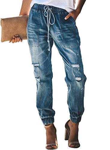 Dokotoo Womens Female Basic Pull On Loose Ladies 2019 Solid Distressed Drawstring Elastic Mid Waist Pocketed Joggers Wash Denim Long Jeans Pants - Pants Drawstring Denim