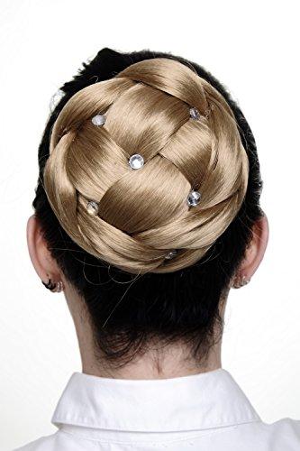 WIG ME UP - Haarteil aufwendig geflochten Zopf Dutt Haarknoten Tracht Hellblond breit voluminös mit Strass-Steinen/ Glitzersteinen JL-SZ01-22