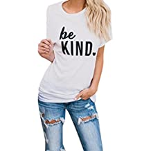 Wintialy Women Casual Blouse Short BE Kind Sleeve O Neck Letter Printed Crop Top T-Shirt