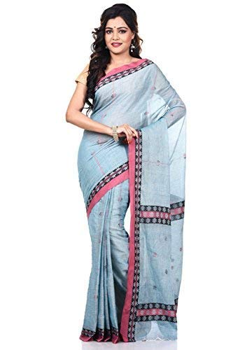 (Bengal Handloom Saree Women's Pure 100 Count Cotton Tangail Azo Free Dye Free Size Aash)