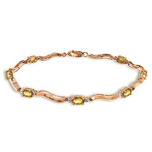 ALARRI 2.01 Carat 14K Solid Rose Gold Tennis Bracelet Diamond Citrine Size 7.5 Inch Length