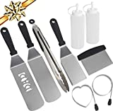 Romanticist 9pc Professional BBQ Griddle Accessories Set for Men Dad - Heavy Duty Stainless Steel Griddle Tool Kit for Grill Griddle Flat Top Cooking Camping Tailgating