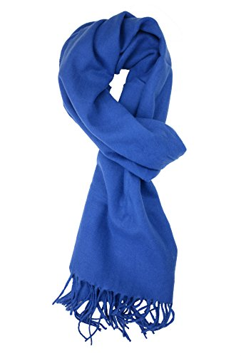 Plum Feathers Rich Solid Colors Cashmere Feel Winter Scarf royal blue