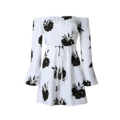 Fleurs Manches Robe Epaules Longues Blanc Femmes Dnudes noir Dress Yieune Mini 8dqBIw8x