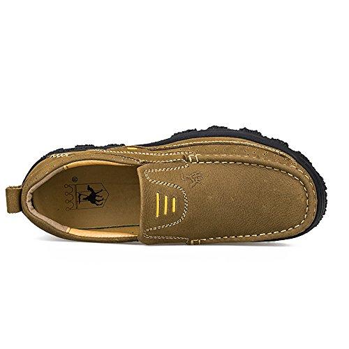 Enllerviid Hommes Soft Moc Toe Slip Sur Mocassins Large Oxfords Robe En Cuir Chaussures De Travail 3105 Marron Clair