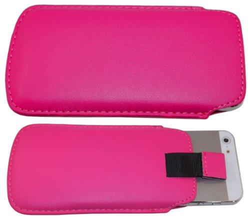 smartec24® Zipout Handytasche für iPhone 5 / 5S / 5C inkl. 1x Frontschutzfolie. Stabile Tasche mit Zipfunktion für eine sichere Handhabung. (pink)
