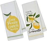 Design Imports DII Set of 2 Lemon Themed Dishtowels with Petite Stripe