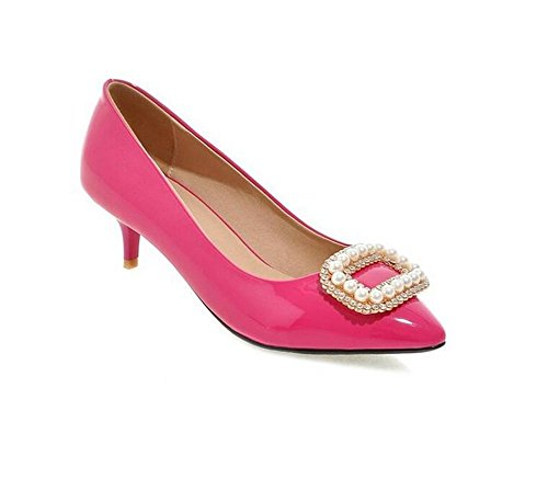 Metal Heeled Wedding Court Shoes Beads Shallow Mouth Flowers Stones Spring And Autumn Shoes , peach red , 41