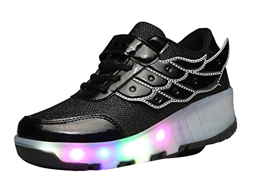 LED Dance Roller Sneakers White and Shoes Light Christmas Flash up Gaorui Wheels Skateboard Women Boot Shoes Girl Black OwtP18
