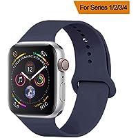 YANCH Compatible para Apple Watch Band 1.496in, 1.654in, 1.575in, 1.732in, banda de silicona suave deportiva correa de repuesto compatible con iWatch Series 4/3/2/1, Nike+,Sport, Edition,S/M M/L Tamaño
