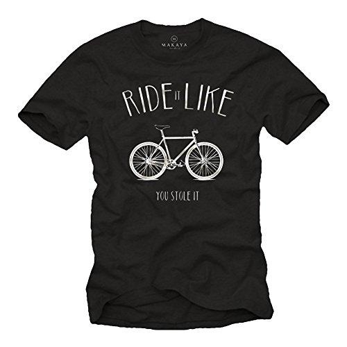 MAKAYA Ride It Like You Stole It - Playera Bicicleta Negra Hombre con Mensaje Divertida XL