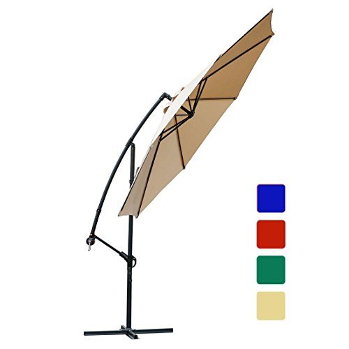 Offset umbrella 10 Ft Cantilever Patio Umbrella Outdoor Market umbrellas with cross base (Beige) (Waterproof Fabric Sunbrella)