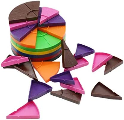 Toygogo 分数円 数学教育玩具 色認識 積み木 図形 型はめ 視覚を訓練 考え力を訓練 脳トレ 114個入り