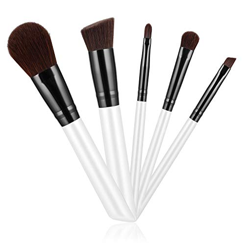 Updated 2020 Version Unique Design Makeup Brushes Sets 5PCS, Cosmetic Foundation Powder Concealers Eyeshadows Lip Make up Tools, Easy to Carry - White
