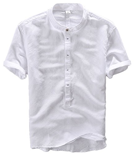 utcoco Men's Retro Banded Collar Concealed Button Short Sleeve Henley Shirts (Large, White) - Short Banded Sleeve Work Collar Shirt