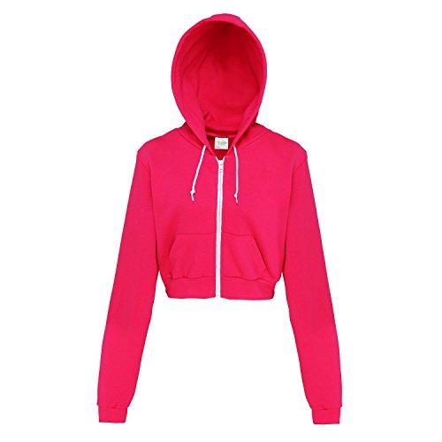 Awdis Just Hoods Womens/Ladies Girlie Cropped Full Zip Hoodie Jacket (L) (Hot Pink)