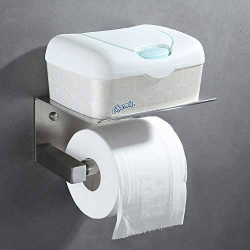 Angle Simple Spring Loaded Toilet Paper Holder with Shelf, SUS304 Stainless Steel Bathroom Tissue roll Holder,Lavatory Tissue Paper Roll Dispenser, Toilet Roll Hanger Wall Mount, Brushed Nickel by Angle Simple (Image #2)