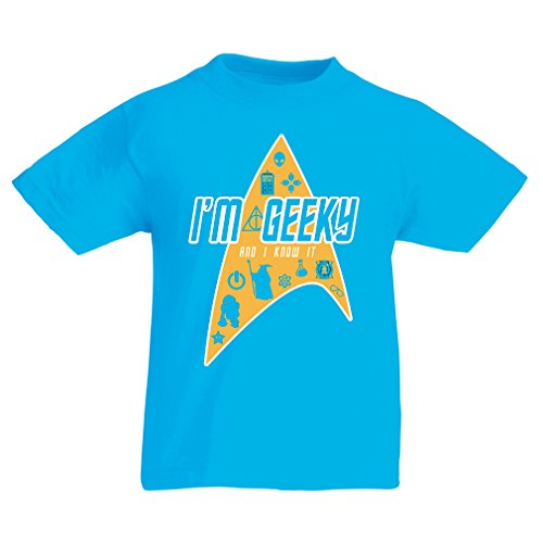 Funny t shirts for kids I am Geeky (12-13 years Light Blue Multi (Irish Exit Halloween)
