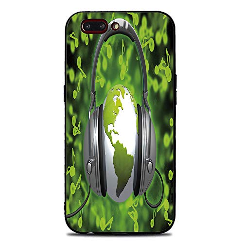 Phone Case Compatible with iphone7 Plus iphone8 Plus Brandnew Tempered Glass Backplane,World,World of Music Themed Composition DJ Headphones Musical Notes and Earth Globe Decorative,Lime Green Grey,An