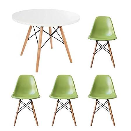 StyleInteriorFurniture Set di tavolo e sedie da pranzo per bambini. Sedia da tavolo rotondo bianco con scelta di colori. Black Chair Style Interior Furniture
