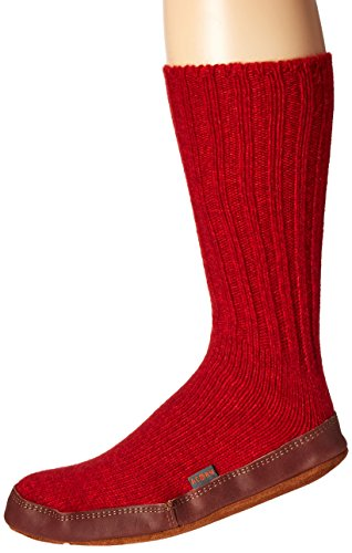 Acorn Unisex Slipper Sock, Crimson Ragg Wool, XXX-Large B US