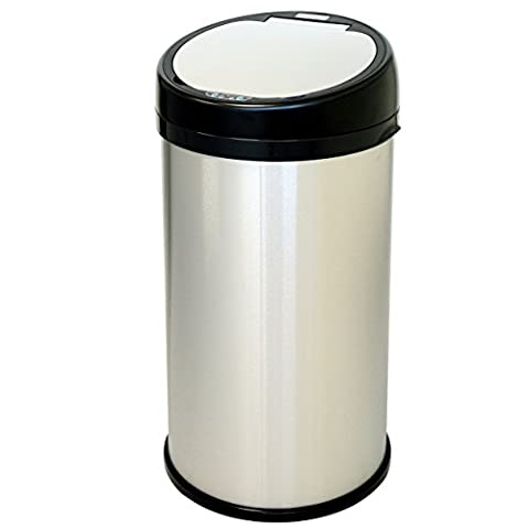 iTouchless Touchless Sensor Trash Can – Stainless Steel – 13 Gallon / 49 Liter - Round (6 Stainless Steel Trash Ring)
