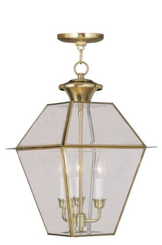 Livex Lighting 2385-02 Westover 3-Light Outdoor Hanging Lantern, Polished Brass