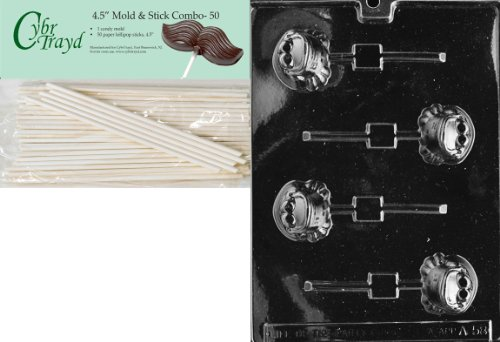 Cybrtrayd 45St50-A058 Frog Lolly Animal Chocolate Candy Mold with 50 4.5-Inch Lollipop Sticks
