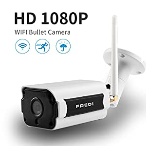 WIFI Outdoor Camera,FREDI Wireless Security Camera 1080P HD Night Vision Bullet Camera Waterproof Surveillance CCTV, IR LED Motion Detection IP Cameras for Indoor Outdoor, Support Max 128G by FREDI-000