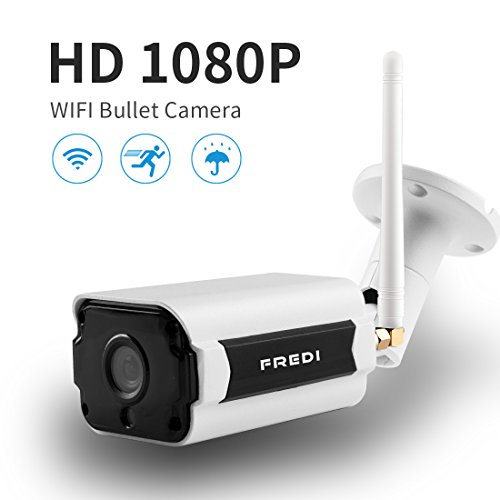 WIFI Outdoor Camera,FREDI Wireless Security Camera 1080P HD Night Vision Bullet Camera Waterproof Surveillance CCTV, IR LED Motion Detection IP Cameras for Indoor Outdoor, Support Max 128G