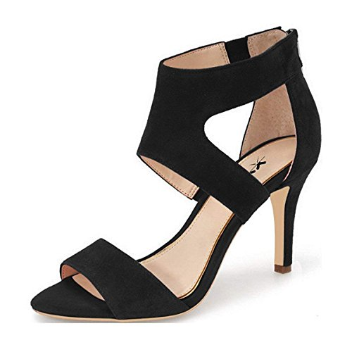 XYD Prom Dancing Shoes Elegant Open Toe Strappy Heeled Sandals Ankle Wrap Dress Pumps for Women Size 13 Black -