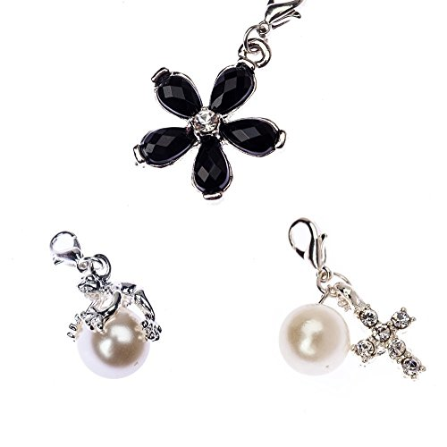 (Great Value Jewelry Set of 3 Clip On Charms Pendants For Bracelets Bangles Necklaces Including Silver Frog Shaped On White Pearl, Rhinestones Decorated Cross With Pearl And Black Gemstones Jewels Studded Flower Shape Dangles By VAGA®)