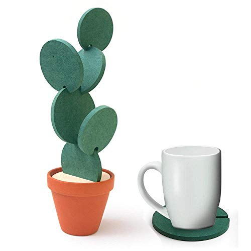 6-Piece Green Coaster Set with Flower Pot Shaped Holder