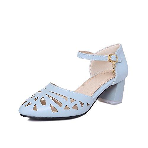 AgooLar Women's Closed Toe Buckle Pu Solid Kitten Heels Sandals Blue tWBSZ