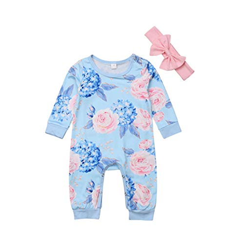 Toddler Kids Clothes Sets,Baby Girl Cotton Floral Romper Jumpsuit Bow Hair Band (0-6Months, -