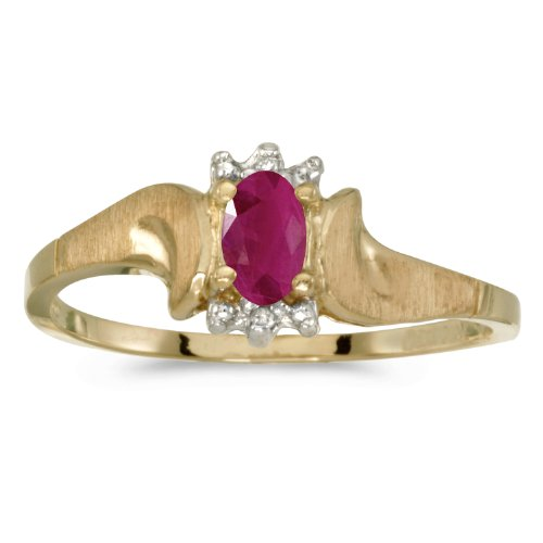 0.18 Carat (ctw) 10k Yellow Gold Oval Red Ruby and Diamond Satin Finish Solitaire Bypass Promise Ring (5 x 3 MM) - Size (Satin Jewel Collection Ruby)