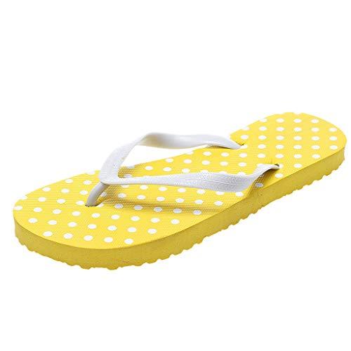 ♡QueenBB♡ Women's Slim Flip Flops Colorful Printing Sole Sandals Beach Slippers Shower Slides Yellow