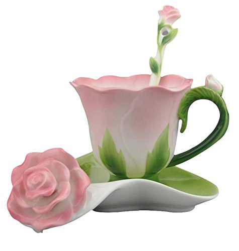 Beddinginn Hand Crafted Collection Porcelain Coffee Tea Cup Sets with Saucer and Spoon Rose Shape DesignPink