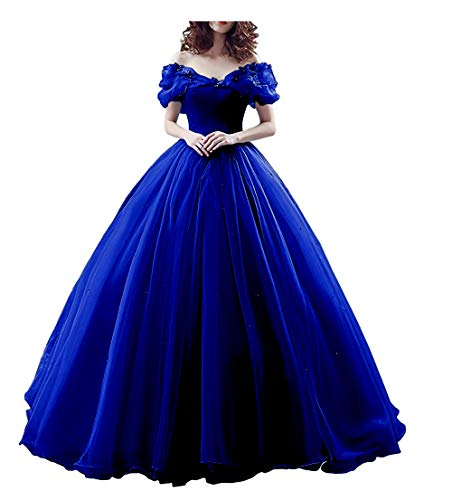 Chupeng Women's Princess Costume Off Shoulder Prom Gown Wedding Dresses Evening Gown Quinceanera Dress 2019 RoyalBlue ()