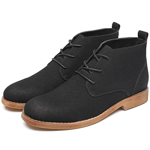 Xiafen Herenmode High-top Veters Flats Comfortabele Ademende Business Casual Kleding Schoenen Zwart